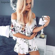 все цены на 2018 Summer Fashion V-neck Women Playsuit Off-shoulder Ruffles Floral  Print Sweet Female Casual High Waist Jumpsuit Pants онлайн