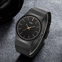 2017 New Watch Men Dress Quartz Black Mens Watches Top Brand Luxury Stainless Steel Quartz Man Wristwatch Relogio Masculino