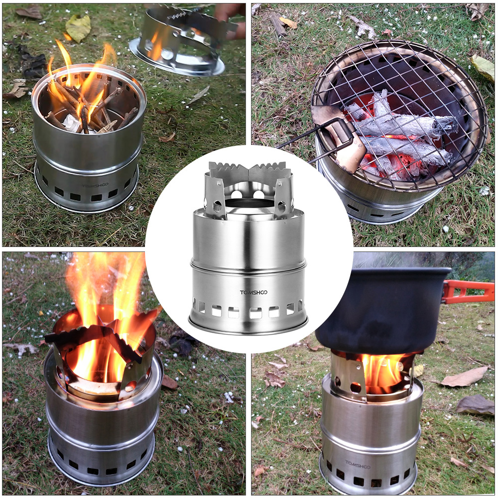 Image 5 - TOMSHOO Portable Folding Windproof Wood Burning Stove Compact Stainless Steel Alcohol Stove Outdoor Camping Hiking Backpacking-in Outdoor Stoves from Sports & Entertainment
