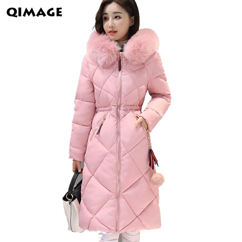2017 Long Parkas Women Winter Coat Large Fur Collar Jacket Female Warm Outwear Thin Padded Cotton