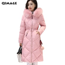 2017 Long Parkas Women Winter Coat  Large Fur Collar Jacket Female Warm Outwear Thin Padded Cotton Jacket Coat Womens Clothing
