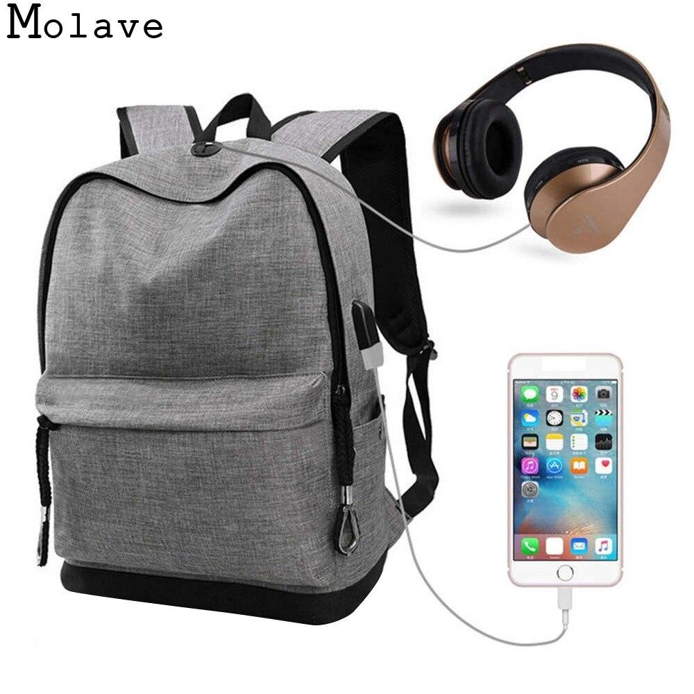 MOLAVE Backpacks USB High school bags for Teenagers Boys Schoolbag black Large Capacity  ...