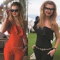 2016 Новая Мода Женщины Комбинезоны Сладкий Случайный Партийные Женщин Боди С Плеча Оборками Рукавов Женщины Брюки Бесплатная Доставка