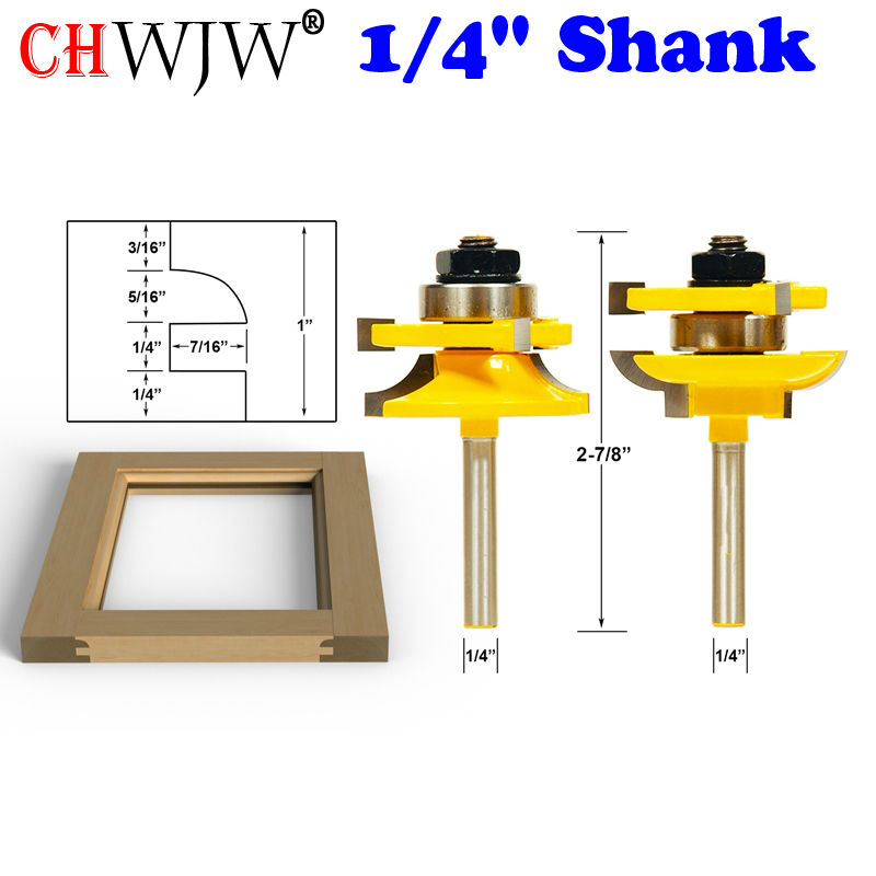 2PC 1/4 Shank Round Over Rail and Stile Router Bits - door knife Woodworking cutter Tenon Cutter for Woodworking Tools