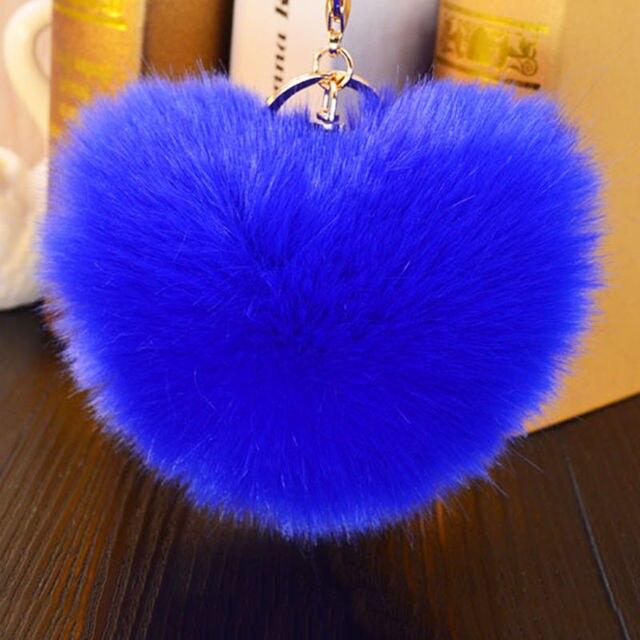 Cores 8 14 cm Saco Elegante Bolsa Da Forma da Forma Do Coração Bonito Em Branco Fofo Bola Pom Pom Pele De Coelho Chaveiro Coelho para Localizar As Chaves