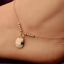 YUN RUO Classic Fortune Cat Anklet Fine Woman Jewelry Titanium Steel Rose Gold Color Valentine Gift