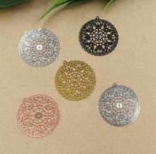30mm Vintage Filigree Circle Flower Wraps Links with Loop European Charms Hair Clasp Bu Yao Accessories DIY Findings Multi Color