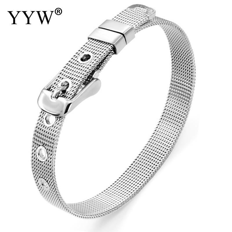 Fashion Jewelry Stainless Steel Jewelry Bracelet Unisex Watchband Style Sliver Color Plated For Man Women 2018