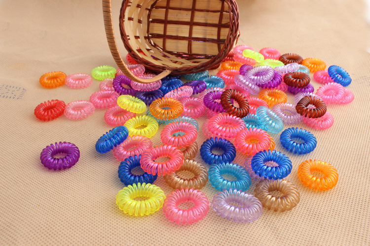Free Shipping 5 Pieces Candy Color Telephone Coil Circle Not To Hurt The Hair Rope Rope