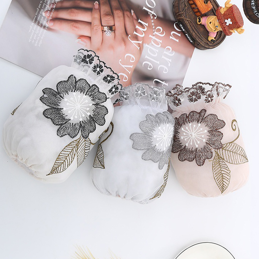 1 Pair Random Color Kitchen House Dining Cooking Thicken Sleeve Lace Flower Embroidery Antifouling Washable Sleeve
