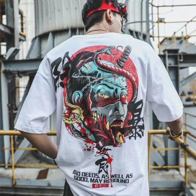 Men Clothes Japan T-shirt Summer Fashion Short Sleeve Clothing Mens Oversized T-shirts Funny Hip Hop Rap Urban Streetwear M-5XL