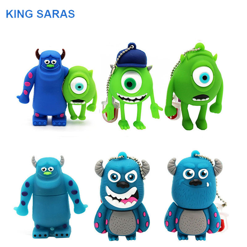 KING SARAS Cute Cute Cartoon 3 Colour Monster University Usb Flash Drive Usb 2.0 4GB 8GB 16GB 32GB Gift 64GBpendrive