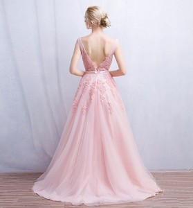 Image 3 - فستان سهرة Vestidos de festa رداء De Soiree رقبة V مع دانتيل زينة طويلة تول فساتين سهرة 2020 وردي كحلي