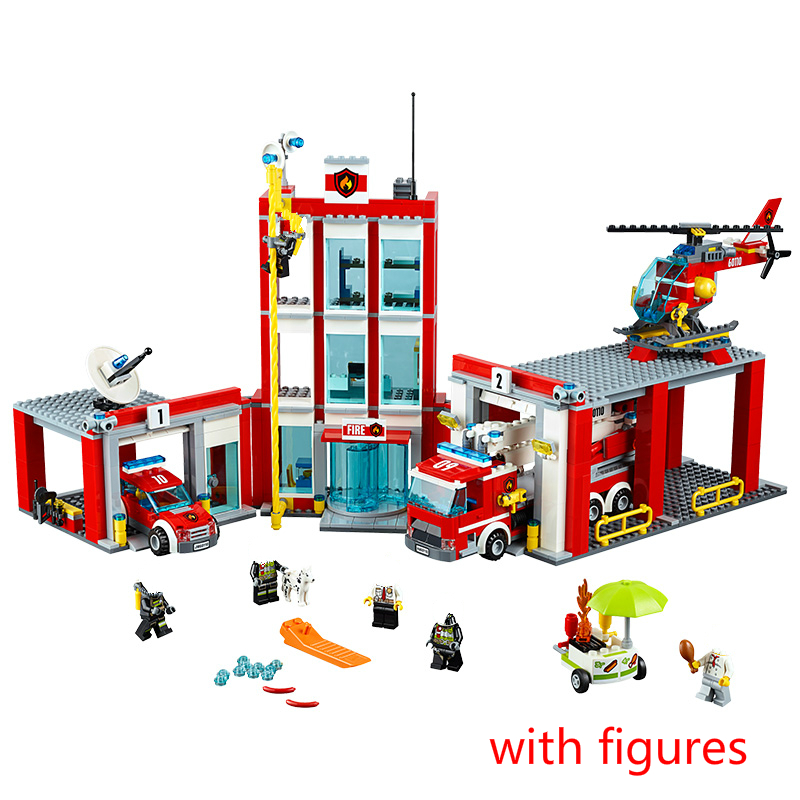958pcs City The Fire Station Model Building Block Brick for Children Birthday Gift Compatible with city