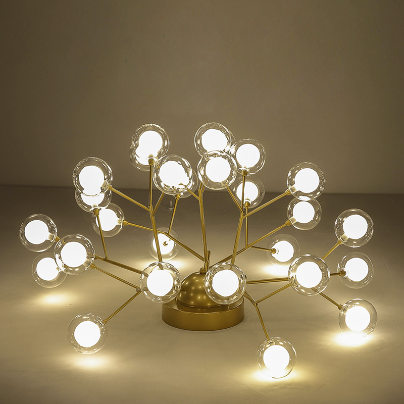Nordic Bubbles Led Chandelier Lighting Living Room Gold/Black Metal Led Ceiling Chandeliers Light Glass Chandelier Lamp Fixtures