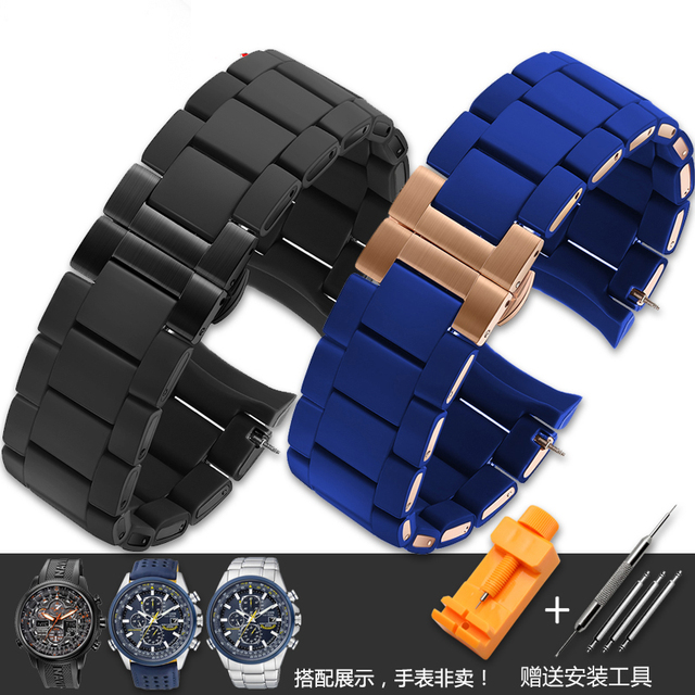497a57e3fc0 Replacement Watchband 23mm NEW Dark blue gary black brown white Silicone  Rubber Diver Watch Strap Band For AR5890 AR5858 AR591