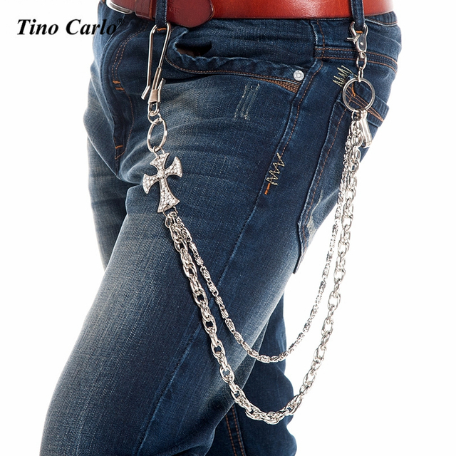 "31""-Men Silver Metal Wallet Chain 2 Strands Big CZ Bling Cross Jeans Key Chain Rock Biker Punk 180g Heavy Jeans Chain KB47"