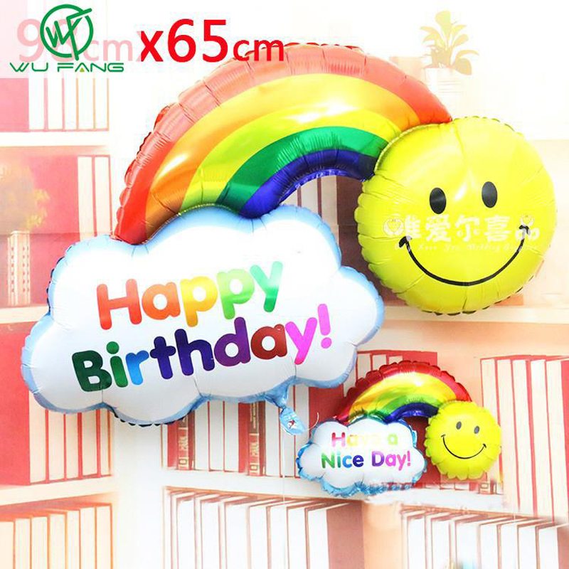 2pcs Foil Balloons Happy Birthday party Wedding Decoration Large size Smile Face