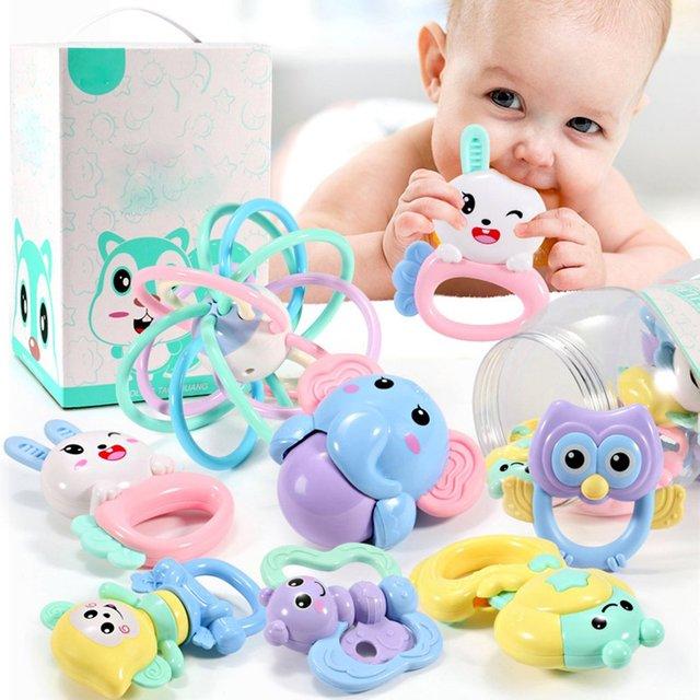 2018 8 Pcs gift box set newborn baby toy chew rubber