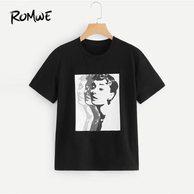 a65936314 ROMWE Figure Print Tee Shirt 2019 New Design Womens Cloths Summer Round Neck  Woman Tops Casual Short Sleeve T-shirt