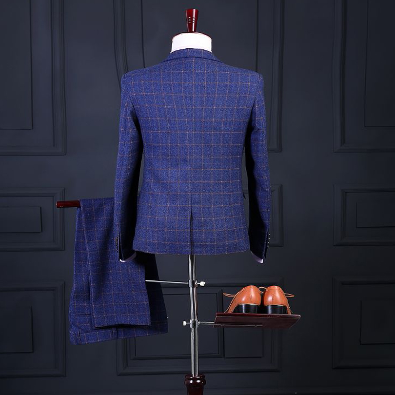 07488fbc782ab US $109.8 39% OFF|New Arrival Man Suits Handsome Single breasted Notched  Lapel Three Pockets Damier Check Dinner Suit (jacket pants vest)-in Suits  ...