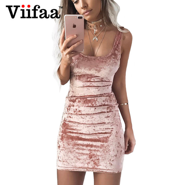 Viifaa осень бархатный жилет платье пикантные Для женщин квадратный воротник платье с открытой спиной без рукавов розовый Bodycon Повседневное Платья для женщин