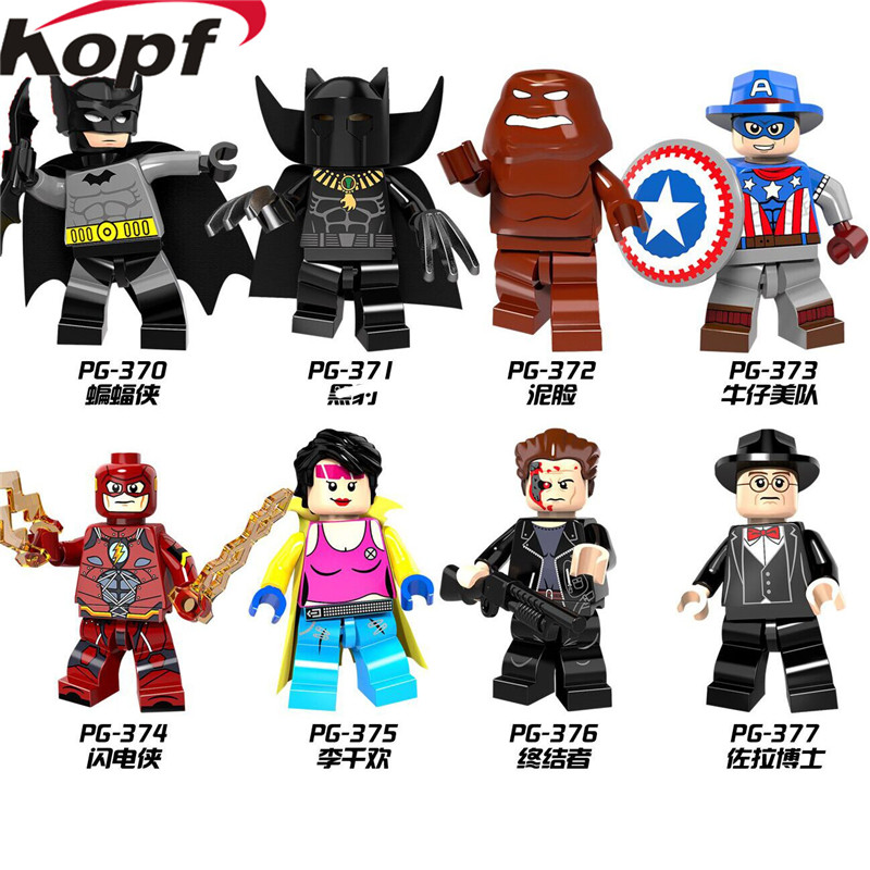 Single Sale PG8088 Super Heroes X-Men Panther Batman Clayface Red Flash Cowboys America Model Building Blocks Children Gift Toys single sale super heroes red yellow deadpool duck the bride terminator indiana jones building blocks children gift toys kf928