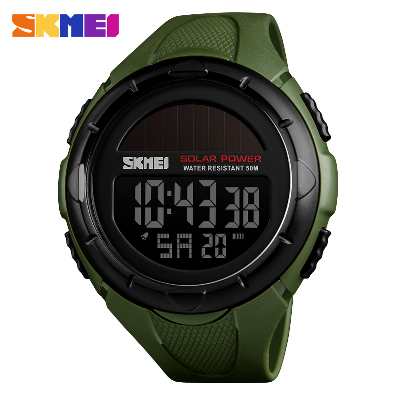 Nice Fashion Solar Sports Watches Men Waterproof Skmei Brand Digital Military Watch Solar Power Mens Wristwatches Relogio Masculino Special Buy Men's Watches