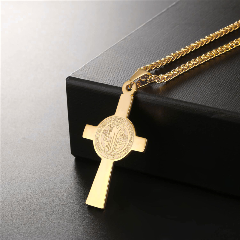 4ebe64995d20 Collare Cross Pendant Men Stainless Steel Gold Color Medalla de San Benito  Necklace Women Saint Benedict