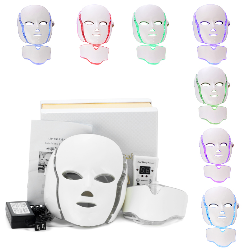 PTD Photon LED Face and Neck Mask 7 Color LED Treatment Skin Whitening firming Facial Beauty Mask Electric Anti-Aging Mask anti acne pigment removal photon led light therapy facial beauty salon skin care treatment massager machine