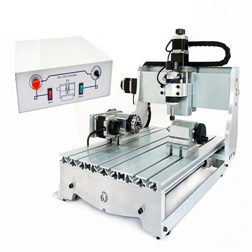 1pc 4 axis CNC 3040 T-D300 engraving machine, CNC router mini cnc milling machine +4pcs cnc frame cnc フライス 4 軸 超 精密