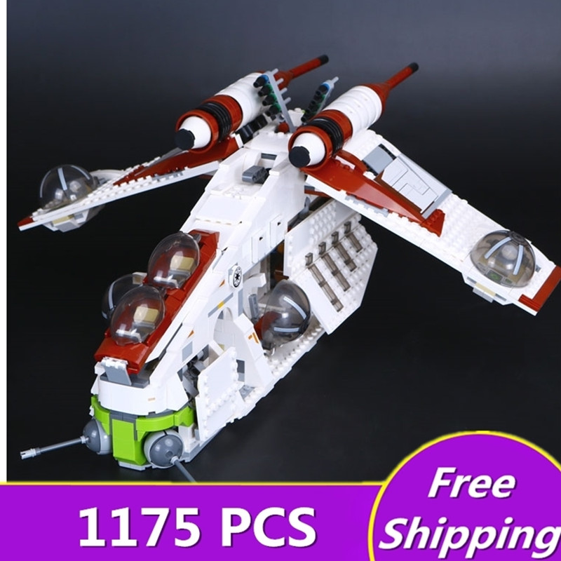 Lepin 05041 Star Series War Genuine The The Republic Model Gunship Set Educational Building Blocks Bricks Toys Legoingly 75021 rollercoasters the war of the worlds