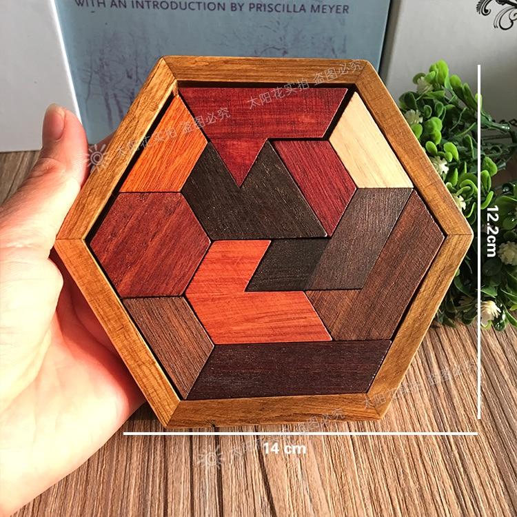 Kid Geometry  Wooden Jigsaw Block Box Puzzle Kids Tangram Animal Education Toys