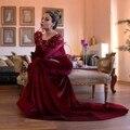 Barco moda pescoço borgonha velvet lace frisada de cristal manga comprida sereia vestidos de baile 2017 muçulmano evening dress robe de soiree