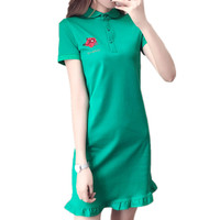 Green Summer 2018 Short Sleeve Ruffle Shirt Dress Leisure Slim Women Mini Vestido Elegant Fashion Womens