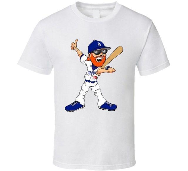 Justin Turner La Dodgers World Series Mvp Cartoon Beard Baseball Fan T Shirt 225f316184a