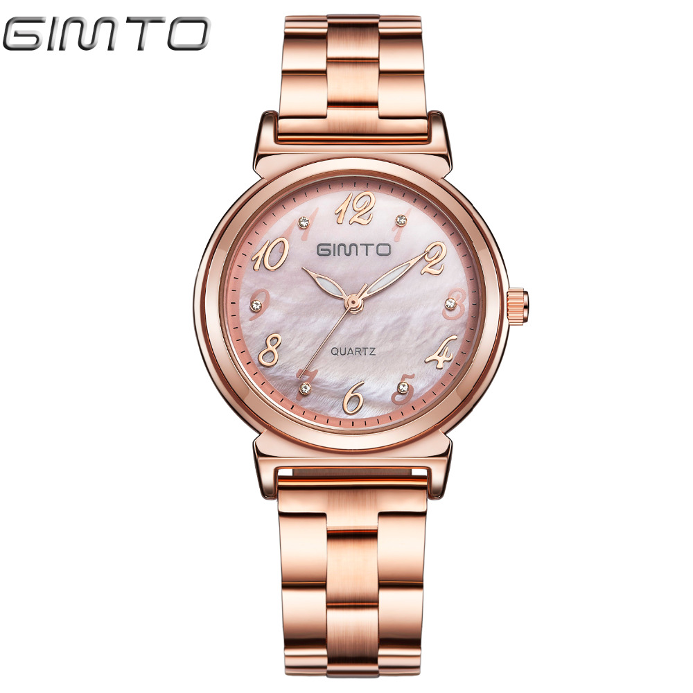 GIMTO Rose Gold Women Watches Steel Clock Luxury Brand Quartz Ladies Watch Crystal Bracelet Girl Dress Wristwatch Relogio Montre gimto brand dress women watches steel luxury rose gold bracelet wristwatch clock business quartz ladies watch relogio feminino