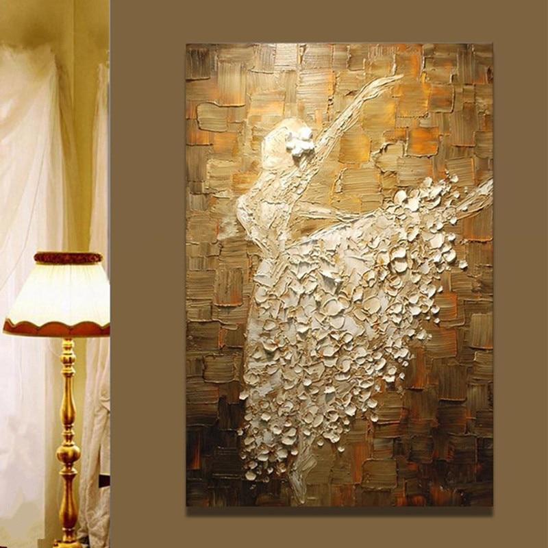 Pintura grande hecha a mano regalo pintado a mano pinturas al óleo abstracta en lienzo decoración del hogar cuchillo de arte de pared blanco Ballet bailarina cuadros-in Pintura y caligrafía from Hogar y Mascotas    1