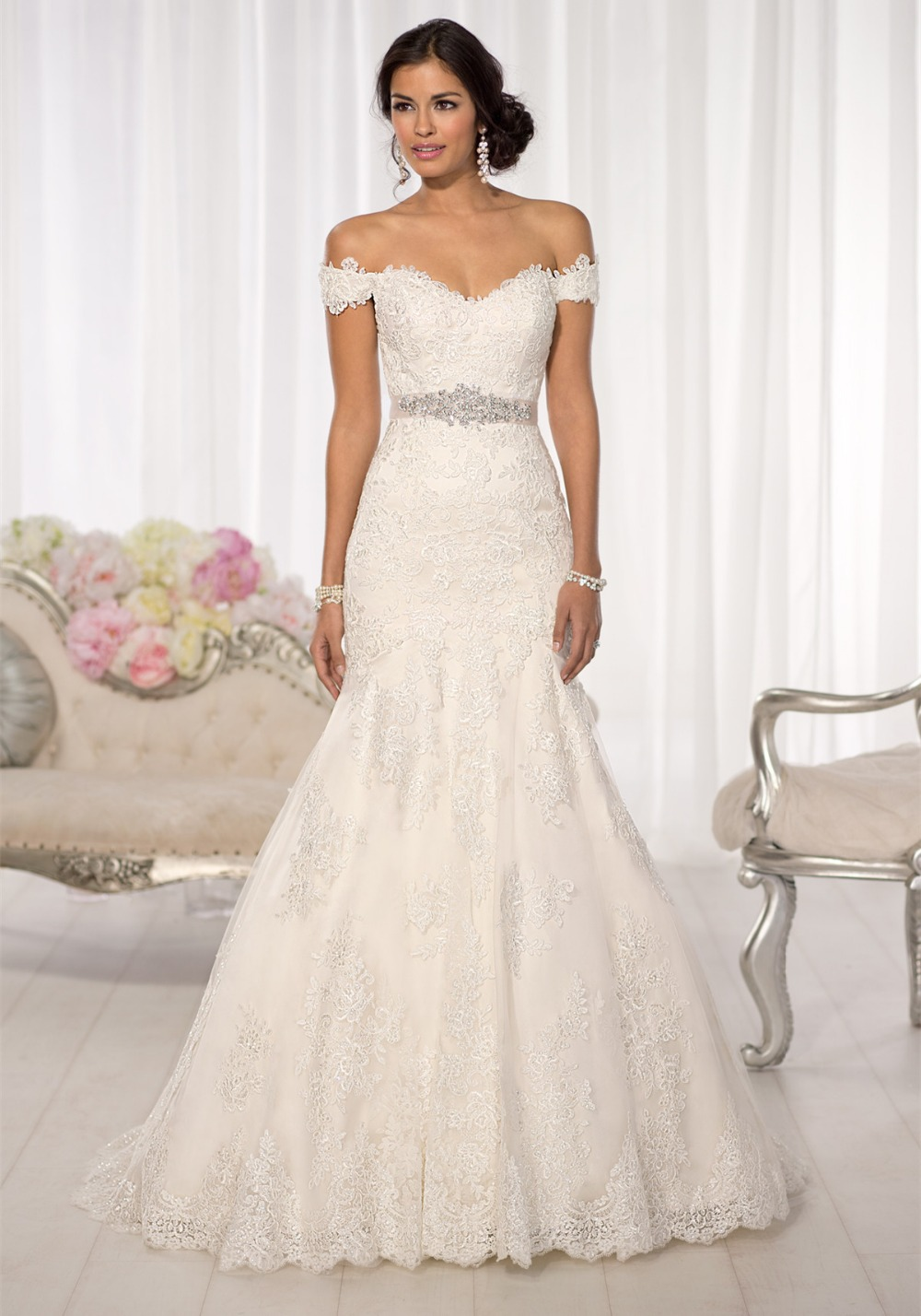 aliexpresscom buy free shipping elegant applique lace wedding gowns sleeves trumpet wedding dress sweetheart neckline bride dress 2017 pa2 from reliable