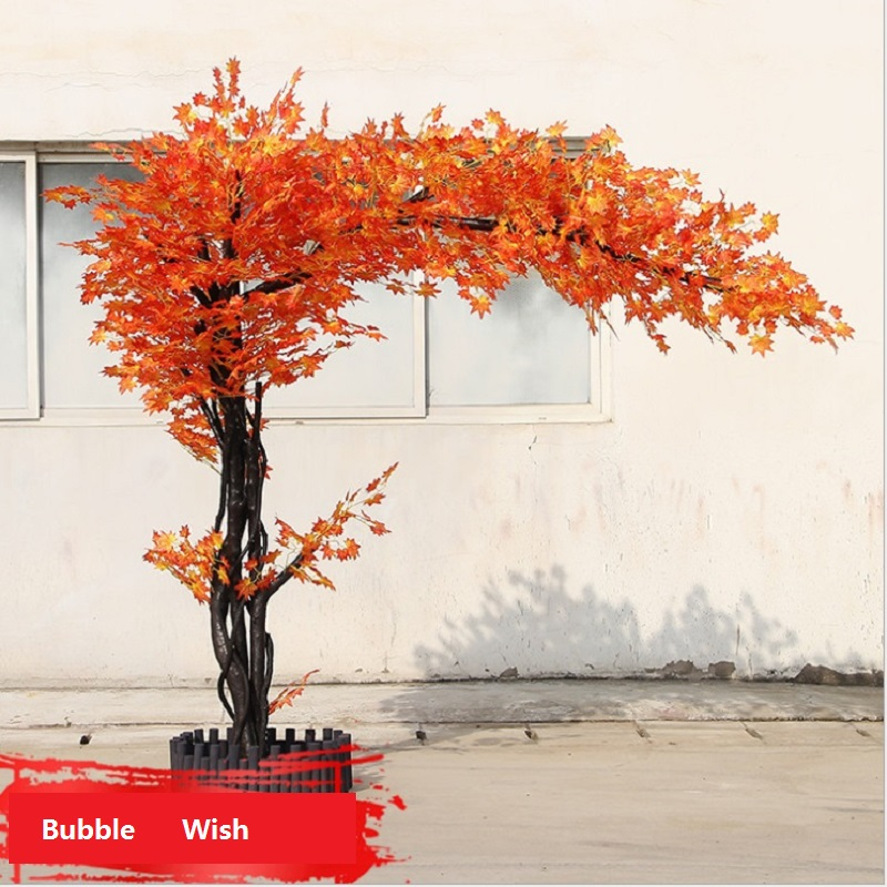 artificial maple tree Red maple tree Large scale simulation of green plants Shop living room decoration plant 1.5 M high