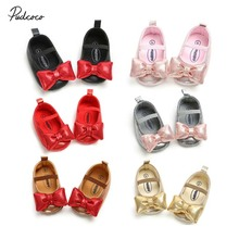 2019 Brand Newborn Baby Girl Bow Anti-slip Crib Shoes Princess Bling Soft New Fashion Prewalker Summer Baby Crib Shoes 0-18M US cheap Solid Cow Muscle All seasons Elastic band Butterfly-knot Fits true to size take your normal size pudcoco