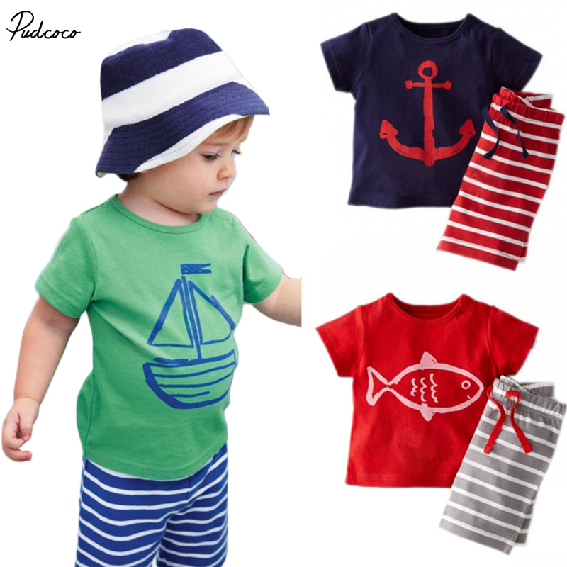 Summer Cool Baby Toddler Kids Boys Tops T-shirt Pants 2PCS Outfits set 0~5Y