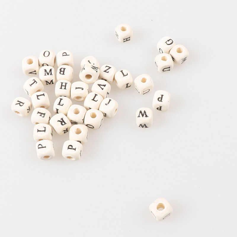 Küp beyaz ahşap mektup Alfabe Spacer dağınık boncuklar El Yapımı Takı Için DIY 8mm 10mm 100 adet