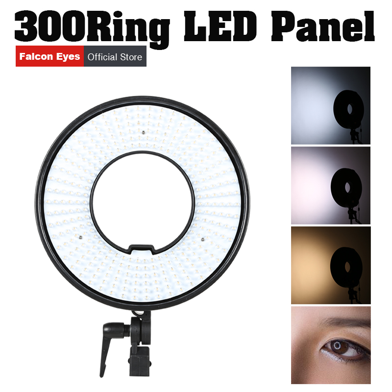 Falconeyes 300 LED Video Ring Light Panel Dimmable Selfie Lighting Film Continuous Macro Lamp for Studio Product