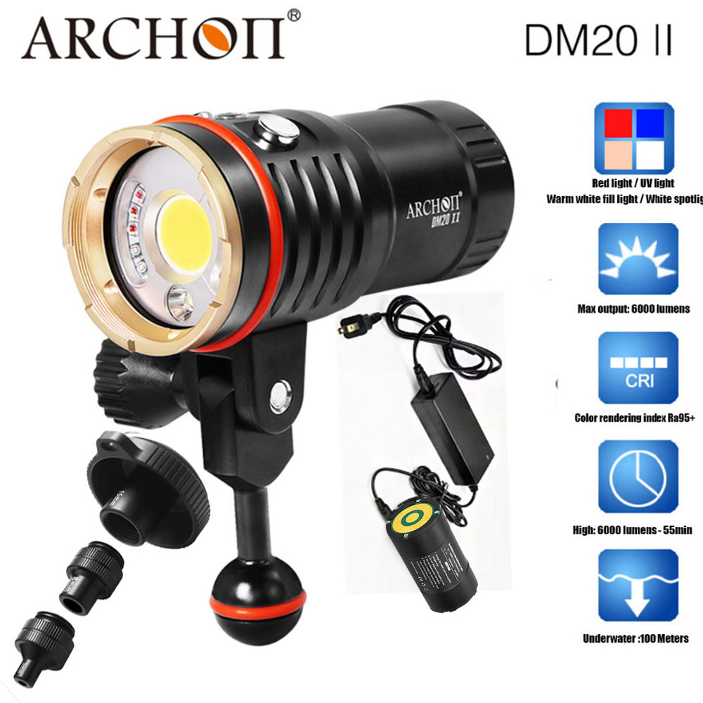 ARCHON DM20-II WM26-II 6000LM 60W COB Diving Video Light UV/ Red Photographying Dive Torch 100M Underwater with sonntARCHON DM20-II WM26-II 6000LM 60W COB Diving Video Light UV/ Red Photographying Dive Torch 100M Underwater with sonnt