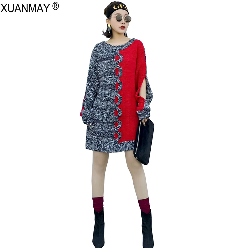 2018 New Thick Autumn casual sweater coat Fashion design knitting Pattern Sweater Slim Stretch women Pullover Long Sweater
