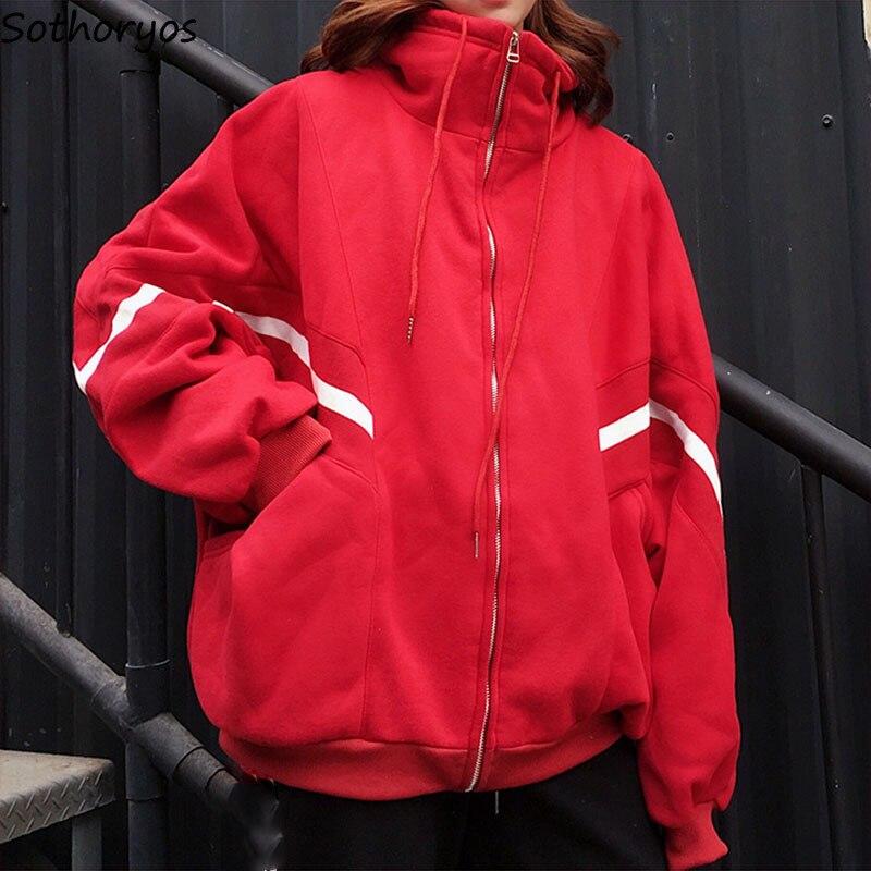 Hoodies Women Harajuku Plus Velvet Loose Zip-up Stand Zipper BF Trendy All-match Womens Coats Chic Student Warm Simple Korean