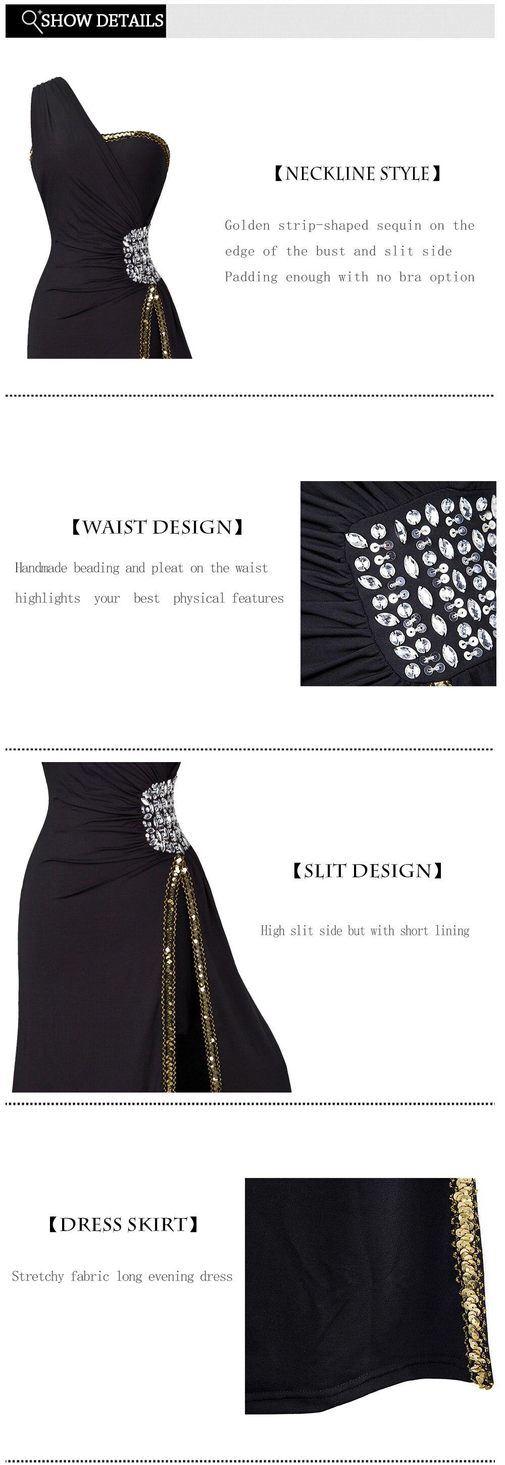 Angel-Fashion Бисероплетение выпускного вечера Формальное вечернее платье с разрезом Длинные вечерние платья черные 027