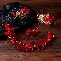 TUANMING Hot Trang Sức Hợp Thời Trang Handmade Red Trang Sức Ngọc Trai SetsCharm Hair Comb Headbands Đối Với Phụ Nữ Sợi Tóc Phụ Kiện Bán Buôn
