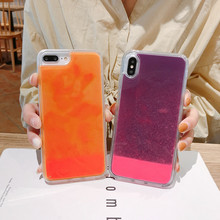 For iphone X Luminous Neon Sand Mobile Case